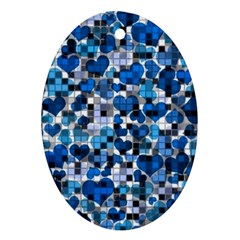Hearts And Checks, Blue Oval Ornament (Two Sides)