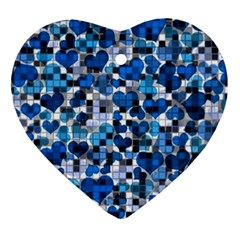 Hearts And Checks, Blue Heart Ornament (2 Sides)
