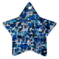 Hearts And Checks, Blue Star Ornament (Two Sides)