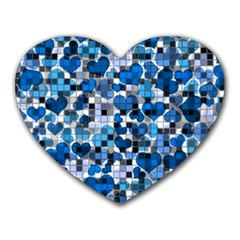 Hearts And Checks, Blue Heart Mousepads