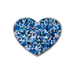 Hearts And Checks, Blue Rubber Coaster (Heart)