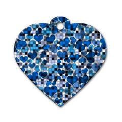 Hearts And Checks, Blue Dog Tag Heart (One Side)