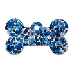 Hearts And Checks, Blue Dog Tag Bone (One Side)