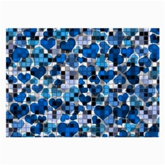 Hearts And Checks, Blue Large Glasses Cloth (2-Side)