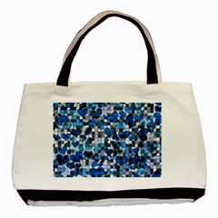 Hearts And Checks, Blue Basic Tote Bag (Two Sides)