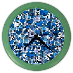 Hearts And Checks, Blue Color Wall Clocks