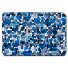 Hearts And Checks, Blue Large Doormat