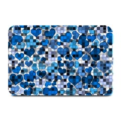 Hearts And Checks, Blue Plate Mats