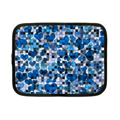Hearts And Checks, Blue Netbook Case (Small)