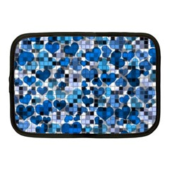 Hearts And Checks, Blue Netbook Case (Medium)