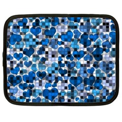 Hearts And Checks, Blue Netbook Case (Large)