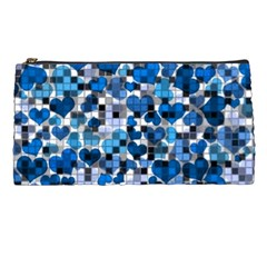 Hearts And Checks, Blue Pencil Cases