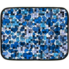 Hearts And Checks, Blue Double Sided Fleece Blanket (Mini)