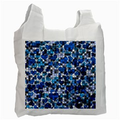 Hearts And Checks, Blue Recycle Bag (One Side)