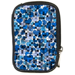 Hearts And Checks, Blue Compact Camera Cases
