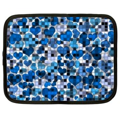 Hearts And Checks, Blue Netbook Case (XXL)