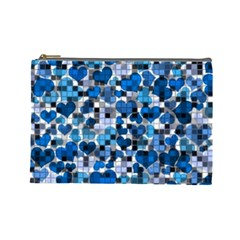 Hearts And Checks, Blue Cosmetic Bag (Large)