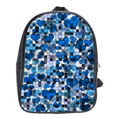 Hearts And Checks, Blue School Bags(Large)