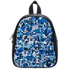 Hearts And Checks, Blue School Bags (Small)