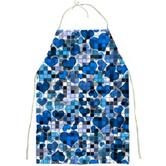 Hearts And Checks, Blue Full Print Aprons