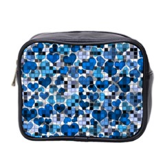 Hearts And Checks, Blue Mini Toiletries Bag 2-Side