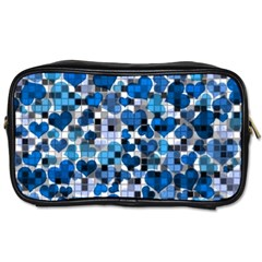 Hearts And Checks, Blue Toiletries Bags 2-Side