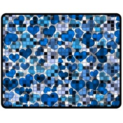 Hearts And Checks, Blue Fleece Blanket (Medium)