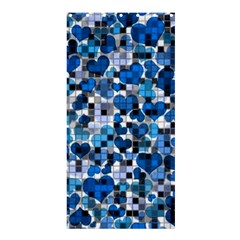 Hearts And Checks, Blue Shower Curtain 36  x 72  (Stall)