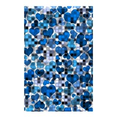 Hearts And Checks, Blue Shower Curtain 48  x 72  (Small)