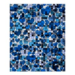 Hearts And Checks, Blue Shower Curtain 60  x 72  (Medium)