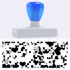 Hearts And Checks, Blue Rubber Address Stamps (xl)