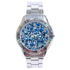 Hearts And Checks, Blue Stainless Steel Men s Watch
