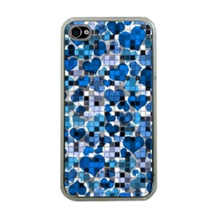 Hearts And Checks, Blue Apple iPhone 4 Case (Clear)