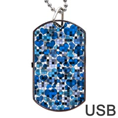 Hearts And Checks, Blue Dog Tag USB Flash (One Side)