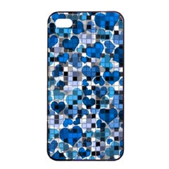 Hearts And Checks, Blue Apple iPhone 4/4s Seamless Case (Black)