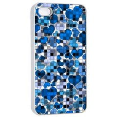 Hearts And Checks, Blue Apple iPhone 4/4s Seamless Case (White)