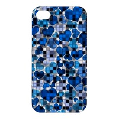 Hearts And Checks, Blue Apple iPhone 4/4S Hardshell Case