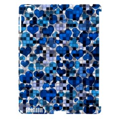 Hearts And Checks, Blue Apple iPad 3/4 Hardshell Case (Compatible with Smart Cover)
