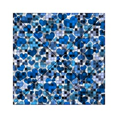 Hearts And Checks, Blue Acrylic Tangram Puzzle (6  x 6 )