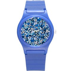 Hearts And Checks, Blue Round Plastic Sport Watch (S)