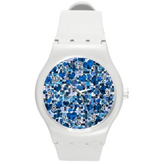 Hearts And Checks, Blue Round Plastic Sport Watch (M)