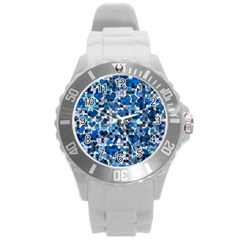 Hearts And Checks, Blue Round Plastic Sport Watch (L)