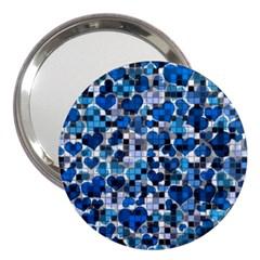 Hearts And Checks, Blue 3  Handbag Mirrors