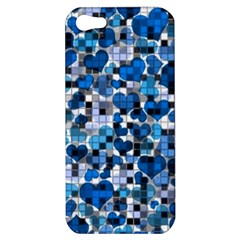 Hearts And Checks, Blue Apple iPhone 5 Hardshell Case