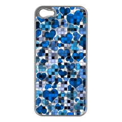 Hearts And Checks, Blue Apple iPhone 5 Case (Silver)