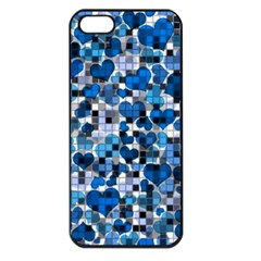 Hearts And Checks, Blue Apple iPhone 5 Seamless Case (Black)