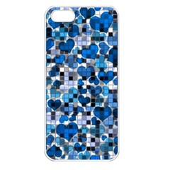 Hearts And Checks, Blue Apple iPhone 5 Seamless Case (White)