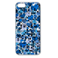 Hearts And Checks, Blue Apple Seamless iPhone 5 Case (Clear)