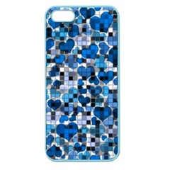 Hearts And Checks, Blue Apple Seamless iPhone 5 Case (Color)
