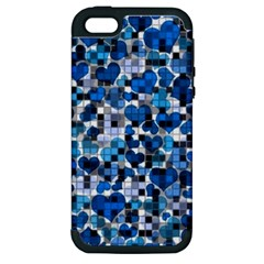 Hearts And Checks, Blue Apple iPhone 5 Hardshell Case (PC+Silicone)